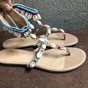 NWT SCHUTZ Boho Beaded Shell Leather Sandals - 10